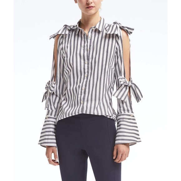 f8f9c45ca200e Banana Republic Tops - Banana Republic Riley-Fit Stripe Cold Shoulder Top